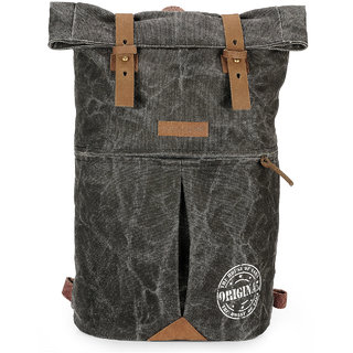The House Of Tara Distress Finish Canvas Backpack (Phantom Black)