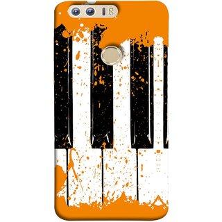 FUSON Designer Back Case Cover For Huawei Honor 8 (Black And White Colour Splash Droplets Music )