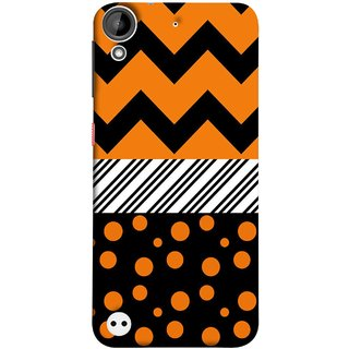 FUSON Designer Back Case Cover For HTC Desire 530 (Pack Craft Paper Orange Dots On Black Background)