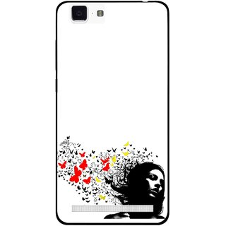 Snooky Printed Butterfly Girl Mobile Back Cover For Vivo X5 Max - Multi