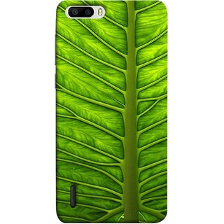 FUSON Designer Back Case Cover For Huawei Honor 6 Plus (Bright Green Leaf Of Tree Full Of Life Network Of Veins)