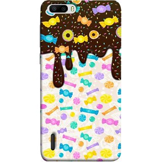 FUSON Designer Back Case Cover For Huawei Honor 6 Plus (Candies Candy Chocolate Marshmallo Colourful Child)