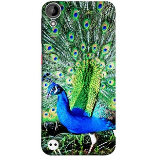 FUSON Designer Back Case Cover For HTC Desire 530 (Nice Colourful Long Attract His Mate Peacock Feathers Beak)