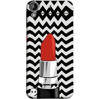 FUSON Designer Back Case Cover For HTC Desire 530 (Red Lipstick Lips Shade Wave Patterns Black)