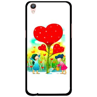 Snooky Printed Heart Plant Mobile Back Cover For Oppo F1 Plus - Multi