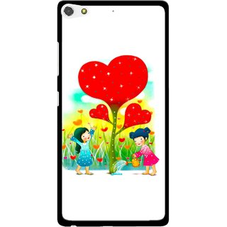 Snooky Printed Heart Plant Mobile Back Cover For Gionee Elife S7 - Multi