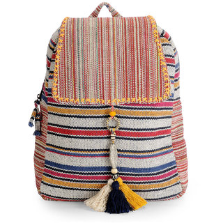 The House of Tara Handloom Fabric Stylish Everyday Backpack HTBP 116