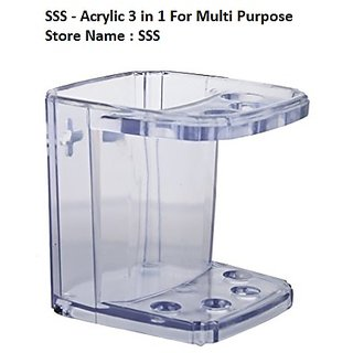 SSS-Acrylic 3in1 Multi Purpose Toothbrush Holder (Material-Acrylic Unbreakable)