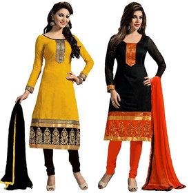 Kingberry Black-Yellow Cotton Lace Kurta -Churidar Dress Material (Unstitched)