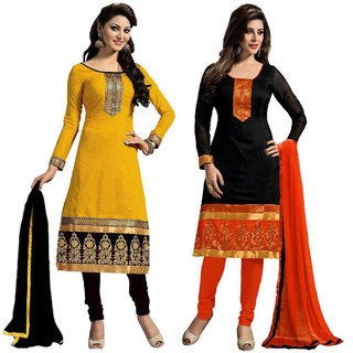 Beelee Typs Black-Yellow Cotton Lace Kurta  Churidar Material Dress Material (Unstitched)