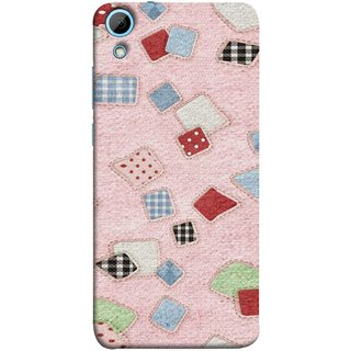 FUSON Designer Back Case Cover For HTC Desire 828 Dual Sim (Baby Pink Lot Colours Squares Patch Tiles )