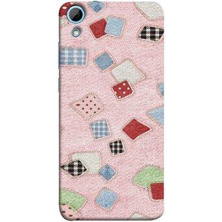 FUSON Designer Back Case Cover For HTC Desire 828 Dual Sim (Baby Pink Lot Colours Squares Patch Tiles )