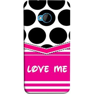 FUSON Designer Back Case Cover For HTC M7 :: HTC One M7 (Pink Design Paper Big Black Circles Bubbles )