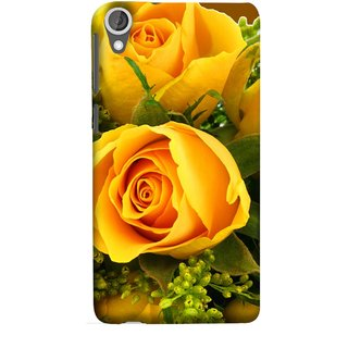 FUSON Designer Back Case Cover For HTC Desire 825 (Friendship Yellow Roses Chocolate Hearts For Valentines Day)