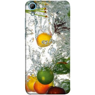 FUSON Designer Back Case Cover For HTC Desire 828 Dual Sim (Lot Of Green Yellow Lemons Apples Fruits )