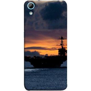 FUSON Designer Back Case Cover For HTC Desire 728 Dual Sim :: HTC Desire 728G Dual Sim (Sunrise Sunset With Silhouette Of Navy Ship Sailing Away)