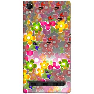 FUSON Designer Back Case Cover For Intex Aqua Power Plus :: Intex Aqua Power + (Butterflies Garden Trees Stars Bright Best Wallpaper)