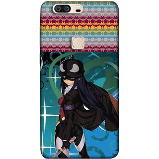 FUSON Designer Back Case Cover For Huawei Honor V8 (Blue Background Woman Standing Holding Warrior Fantasy)