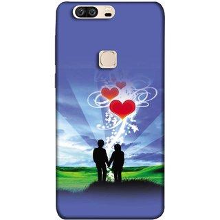 FUSON Designer Back Case Cover For Huawei Honor V8 (Couple Enjoying Beautiful Sunrise Red Hearts Sunshine)