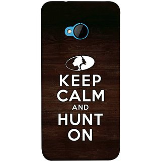 FUSON Designer Back Case Cover For HTC M7 :: HTC One M7 (World Logo Keep Silent And Cool Hunting Always)