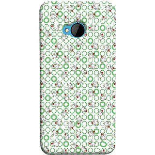 FUSON Designer Back Case Cover For HTC M7 :: HTC One M7 (Small Green Circles On White Bottom Color Printed On Cotton)