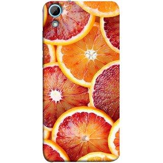 FUSON Designer Back Case Cover For HTC Desire 828 Dual Sim (Citric Flesh Food Fruit Green Lemon Part Peel Orange)