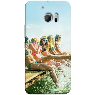 FUSON Designer Back Case Cover For HTC 10 :: HTC One M10 (Group Of Happy Young Woman Feet Splash Water In Sea)