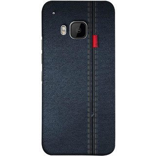 FUSON Designer Back Case Cover For HTC One M9 :: HTC One M9S :: HTC M9 (Denim Dark Blue Jeans White Thread Boys Love)