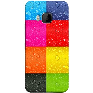 FUSON Designer Back Case Cover For HTC One M9 :: HTC One M9S :: HTC M9 (Water Droplets Multicolour Blue Red Pink Sky )