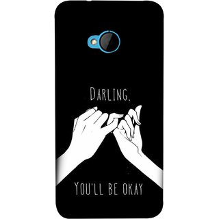 FUSON Designer Back Case Cover For HTC M7 :: HTC One M7 (My Love All Will Be Fine Just Relaxed Holding Hand)