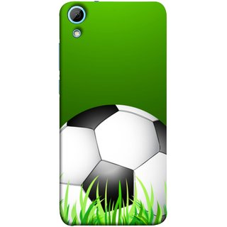 FUSON Designer Back Case Cover For HTC Desire 828 Dual Sim (Football Green Ground Ball Black White Fifa League )