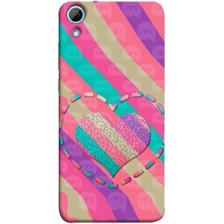 FUSON Designer Back Case Cover For HTC Desire 828 Dual Sim (Hearts Love Lovely Strips Candy Cane Jellybean)
