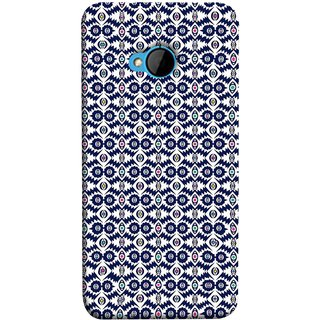 FUSON Designer Back Case Cover For HTC M7 :: HTC One M7 (Watercolor Hand Painted Blue Indigo Boho Pattern)