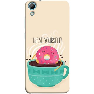 FUSON Designer Back Case Cover For HTC Desire 828 Dual Sim (Donut Strawberry Flavor Sinking In Hot Chocolate)