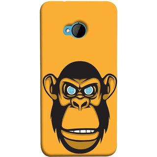 FUSON Designer Back Case Cover For HTC M7 :: HTC One M7 (Orange Background Open Ears Black Hairs Jungle Nose)