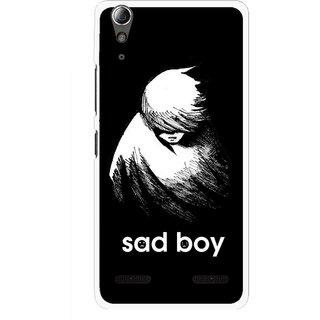 Snooky Printed Sad Boy Mobile Back Cover For Lenovo A6000 Plus - Multi