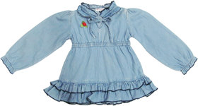 100 Cotton Denim Wasshed Girls LS Dress with Flower Motiff in Front
