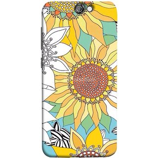 FUSON Designer Back Case Cover For HTC One A9 (Sunflowers Flowers Green Grass Beautiful Painting Canvas)