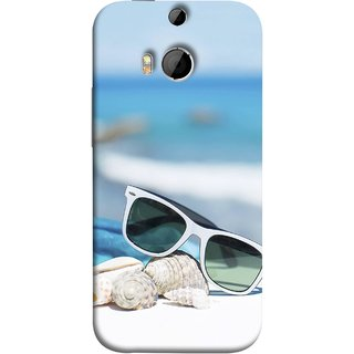 FUSON Designer Back Case Cover For HTC One M8 :: HTC M8 :: HTC One M8 Eye :: HTC One M8 Dual Sim :: HTC One M8s (Summer Vacation Beach Mobile Wallpaper Blue Sky )
