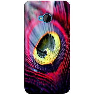FUSON Designer Back Case Cover For HTC M7 :: HTC One M7 (Close Up View Of Eyespot On Male Peacock Feather)