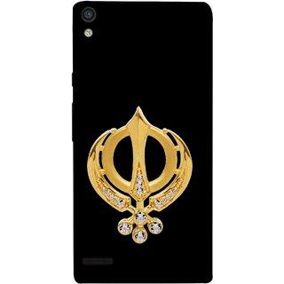 FUSON Designer Back Case Cover For Huawei Ascend P6 (Khalsa Khanda Guru Nanak Sikh Pendant Diamonds)