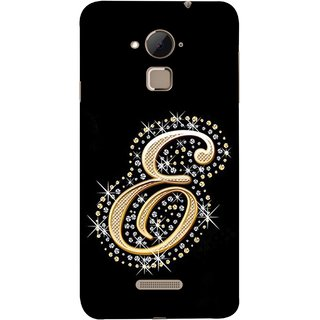 FUSON Designer Back Case Cover For Coolpad Note 3 Lite :: Coolpad Note 3 Lite Dual SIM (Gold Framed Alphabet Letter E Filled With Diamonds)