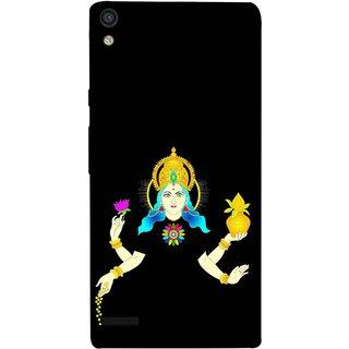 FUSON Designer Back Case Cover For Huawei Ascend P6 (Laxmi Kamal Lotus Gold Crown Mukut Kalash)