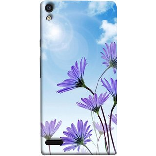 FUSON Designer Back Case Cover For Huawei Ascend P6 (Daisy Flower Garden Blue Sky White Clouds )