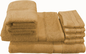 Valtellina Family Pack 8 Piece Cotton Towels Set - Brown