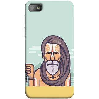 FUSON Designer Back Case Cover For BlackBerry Z10 (Himalaya Sadhu Kumbh Mela Beard Rudraksh Mala)
