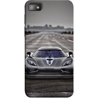 FUSON Designer Back Case Cover For BlackBerry Z10 (Road Black White Clouds Beautiful Road Blue Side Mirror)