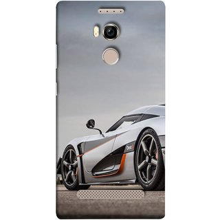 FUSON Designer Back Case Cover For Gionee Elife E8 (Sky White Red Clouds Front Lights Tyres Side Mirror)