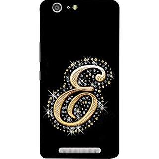 FUSON Designer Back Case Cover For Gionee Marathon M5 (Gold Framed Alphabet Letter E Filled With Diamonds)