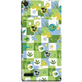FUSON Designer Back Case Cover For Huawei Ascend P6 (Pillow Bedsheet Designs Fish Grass Cat Yellow Flower Pattern)
